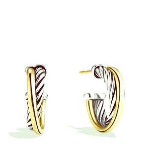 David Yurman Jewelry - David Yurman Crossover Hoop Earring with 18K Gold