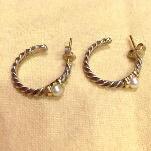 David Yurman Jewelry - SOLD Rare David Yurman Silver, Gold, & Pearl Hoops