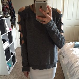 Sweaters - Grey Sweater Cut Out Sleeves