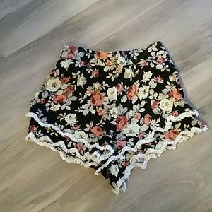 LF  Pants - Paper Heart high waisted floral shorts