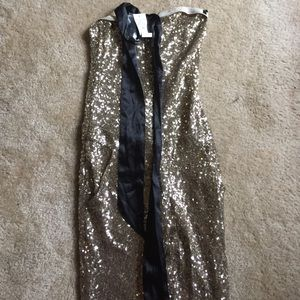 Bebe Gold Sequin jumpsuit