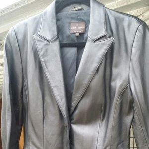 Jackets & Blazers - BLACK LAMBSKIN LEATHER JACKET/BLAZER - SIZE MED