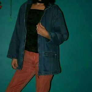 90s denim hoodie w flannel lining