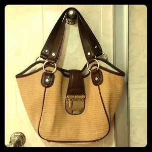Michael Kors Straw Tote Satchel Brown Leather MK