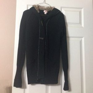 Sweater with faux fur hoodie