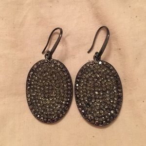 Grey Stone Pendant Earrings