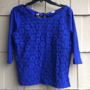 J. Crew Tops - J. Crew Blue Lace Top
