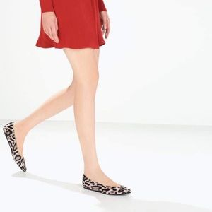 Zara printed leather pointy ballet flat