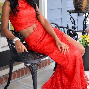 Prom Dress. Red Lace. 2 piece