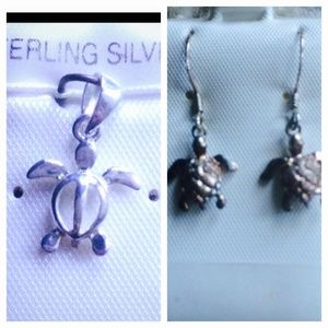 Jewelry - Sterling silver sea turtle necklace and earrings.