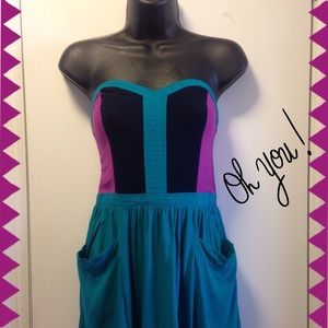 ⭐️Host pickStrapless teal color block dress
