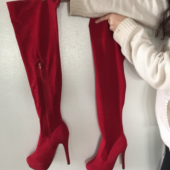 77% off Shoes - Red velvet thigh high boots size 7 never worn from ...