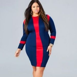 Monif C. Dresses & Skirts - Monif C 'Marcie' long sleeve dress in red/blue 1X