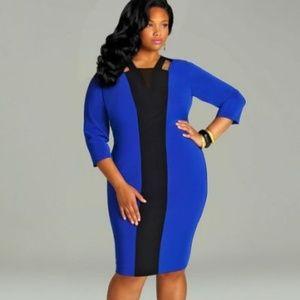 Monif C. Dresses & Skirts - Monif C 'Dominique' Blue/Black Colorblock Dress 1X