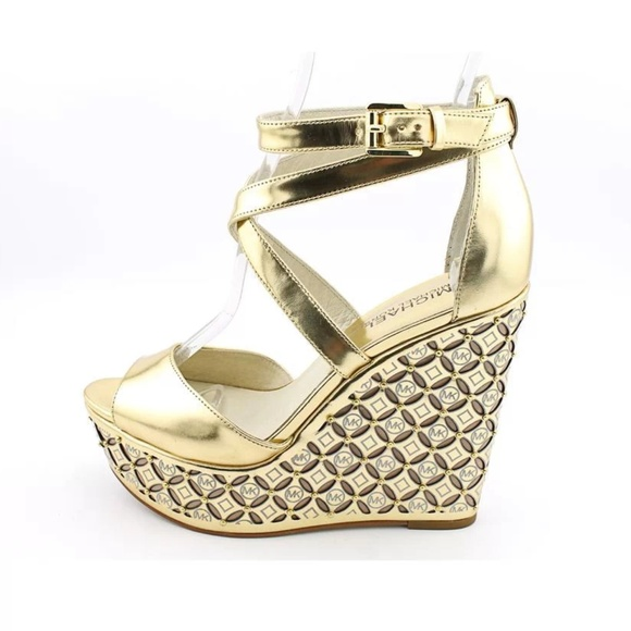 678291f688c Michael Kors Gabriella Gold Wedge Sandals