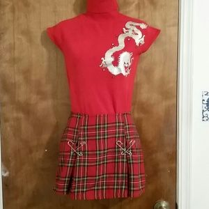 DONATING SOON: Red tartan plaid  mini skirt