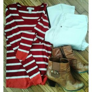 Banana Republic Red and White striped Sweater