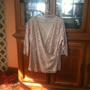 Lace top with inset shell