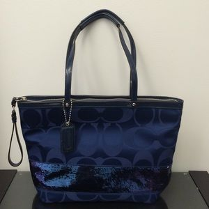 ... coach purse baby blue and tan Authentic Coach Royal Blue sequin purse