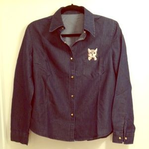 Tops - Denim button up with cat detail