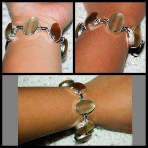 "handmade & handcrafted gemstone jewelry Jewelry - Fluorite Agate Stone 925 Stamped Bracelet 6-6 1/2"""