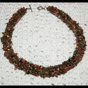"handmade & handcrafted gemstone jewelry Jewelry - Natural Unakite Red Creek Jasper Necklace 16 7/8"""