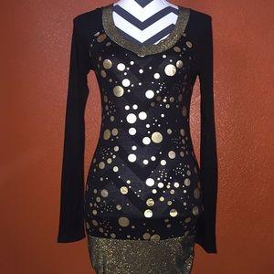 Yagi Dresses & Skirts - Yagi Black Gold Polka Dot Dress Medium