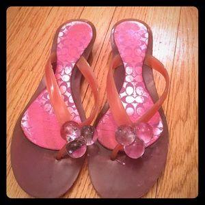Coach magenta flip flops