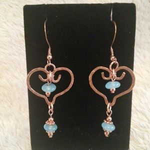 Copper Heart & Calcedony Earrings