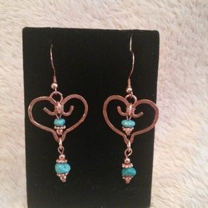 Copper Heart Pierced Earrings with Turquoise
