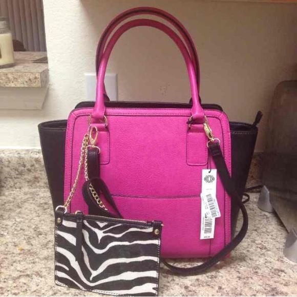 3940f42ffa2b Designer Kate Landry Pink   Black Purse Handbag