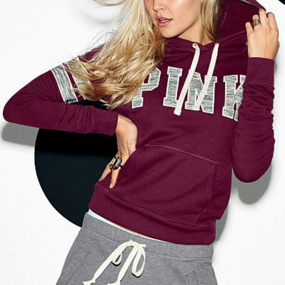 Victoria's Secret - Victoria's secret pink maroon hoodie small ...