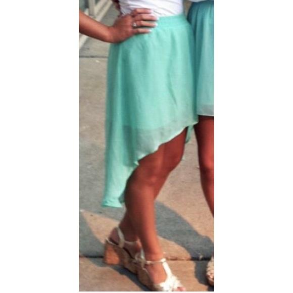 80 forever 21 dresses skirts mint high low skirt