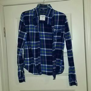 Blue Abercrombie flannel