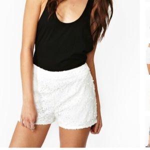 White sequin shorts