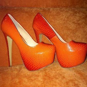 Snake print orange heels