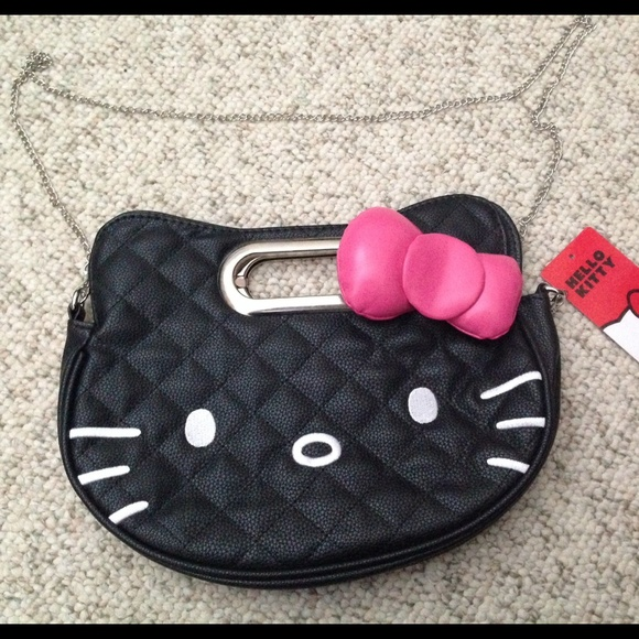 e0519b4d49 Hello Kitty black quilted bow clutch metal strap