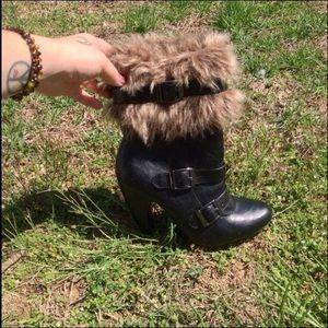 JustFab fur booties (boots)