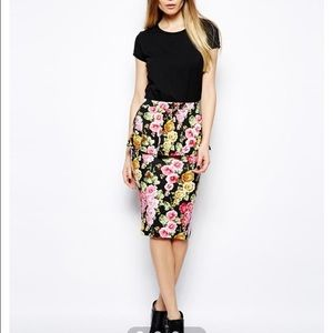 NEW! ASOS Peplum Pencil Skirt In Floral Print 