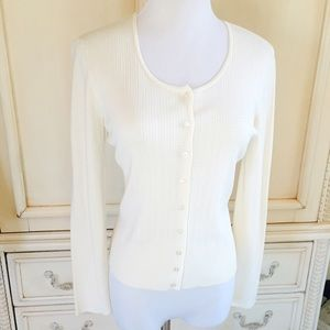 Talbots | Cream / Off-White Cardigan Sweater Small