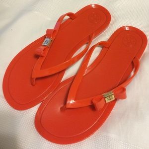Tory Burch Jelly Sandals W/ Bow - Orange