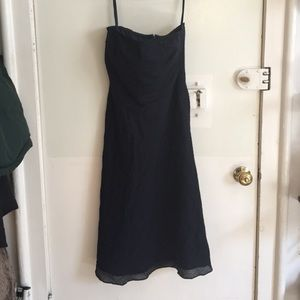 Navy blue strapless J Crew cotton dress. Size 4.