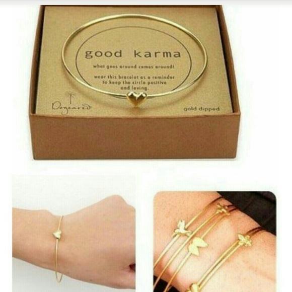 Jewelry , 1 pc gold good karma bracelet heart luck 7\u0026quot; charm