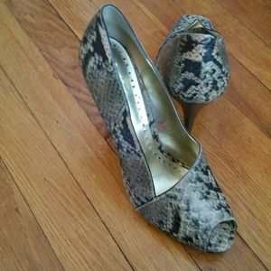 BCBG Symmetrical Snakeskin Pumps