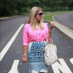 Silk J Crew Blythe blouse in hot pink. Size 2