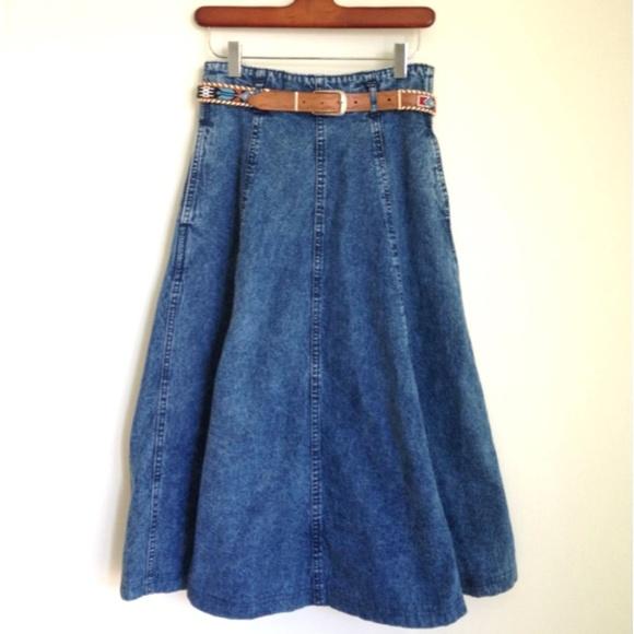 vintage high waisted vintage denim skirt from