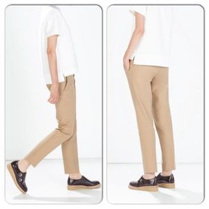Zara Bacis tan belted pants