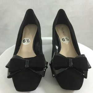 Franco Sarto Black Suede & Patent Pumps