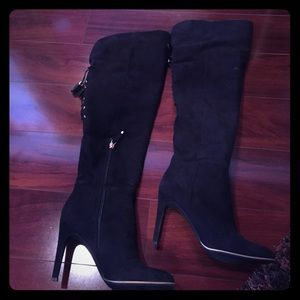 Over the knee velour boots
