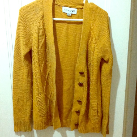Forever 21 Sweaters F21 Mustard Yellow Cable Knit Cardigan Poshmark